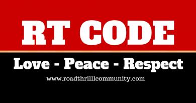 Road Thrill Code RT Code Bikers Code - Love Peace Respect