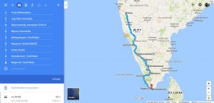 South India BIke Ride Route Map