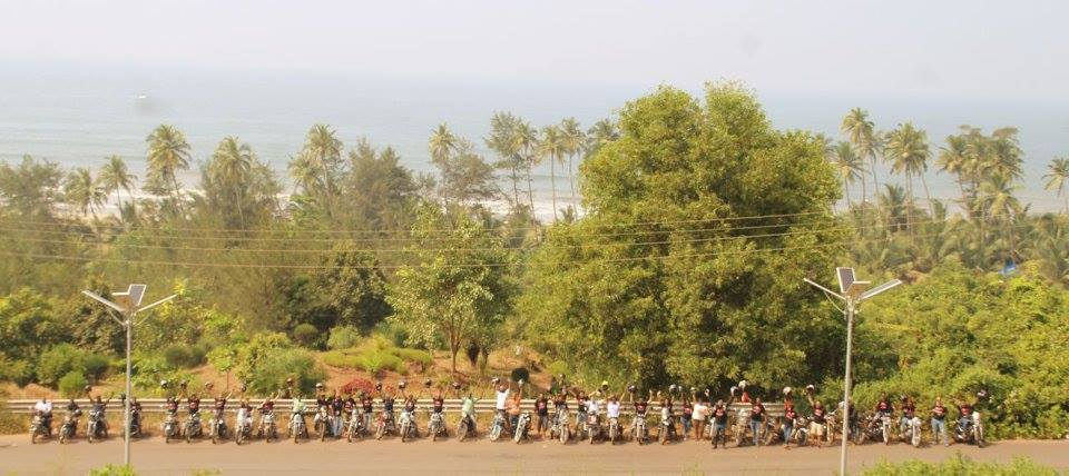 Bikers with our Bikes at Sweet water Lake, Goa