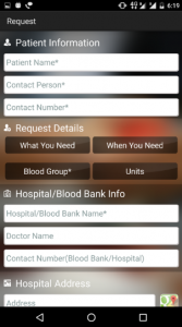 Blood Donation Patien details Requirement Details