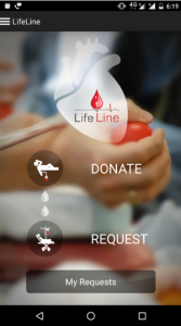 Blood donation request or donate in life line app