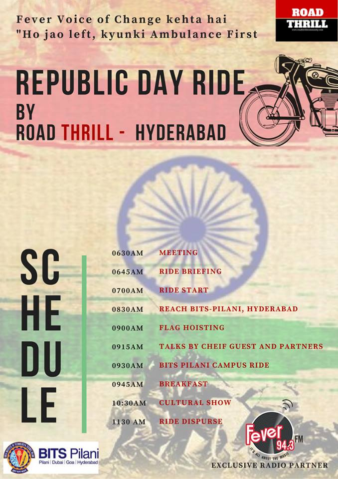 Republic Day Ride Hyderabad 2018 in Association with Bits Pilani Hyderabad Campus and Fever FM