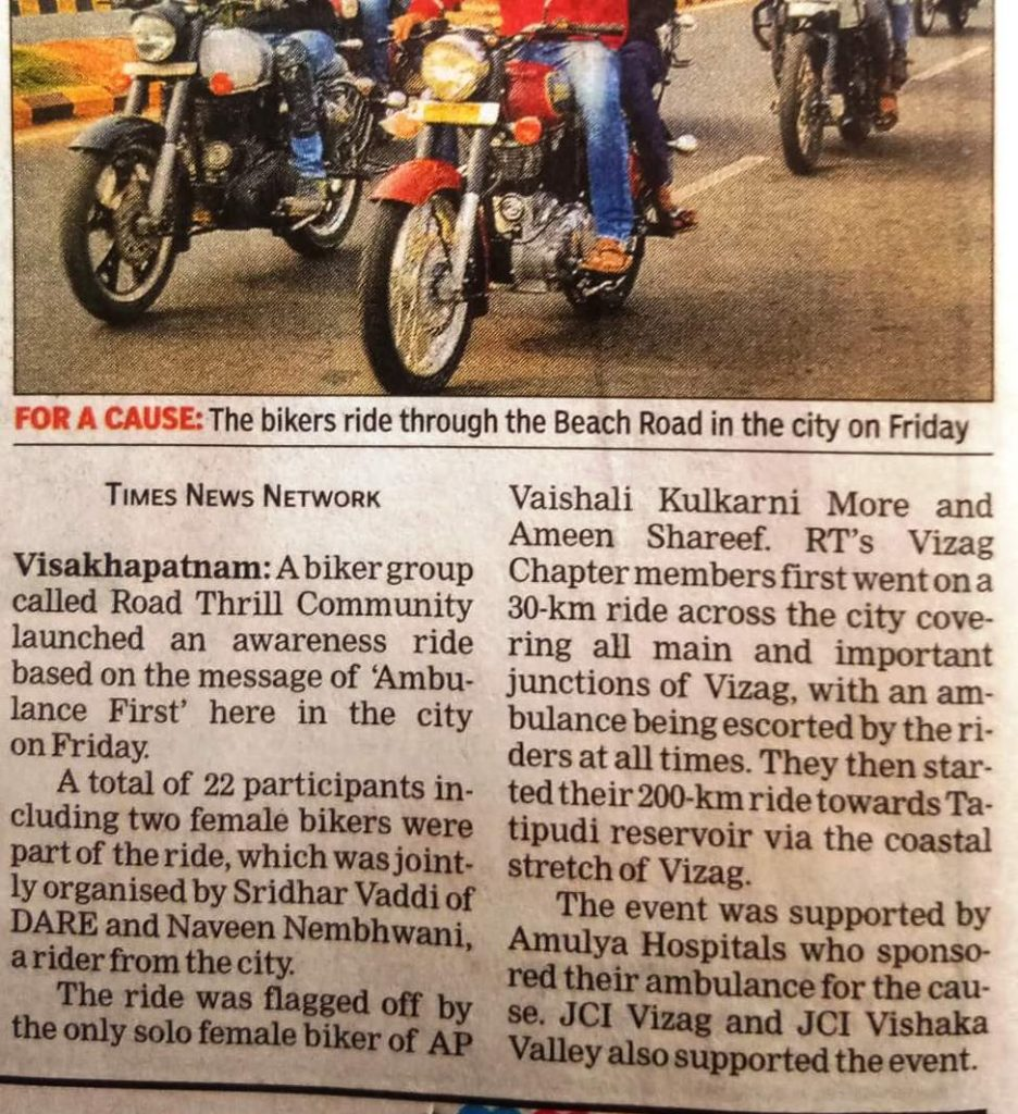 Road Thrill Vizag in News Bikers Cause Ride Groups Biking