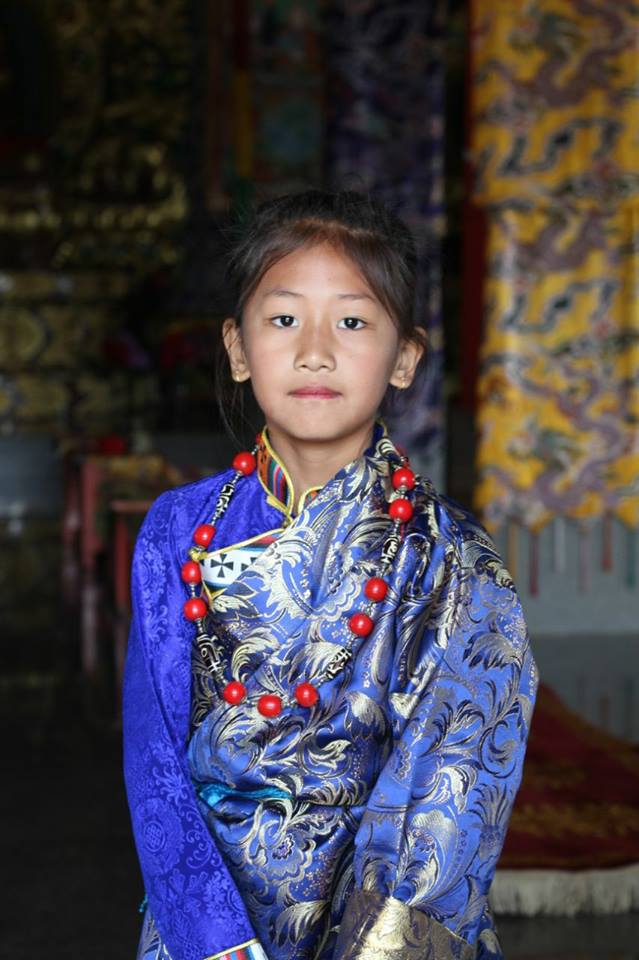 Beautiful Buddhist Girl at Dzogchen Monastery India