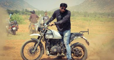 Riding a bike Royal Enfield Himalayan Vinod Basavaraju